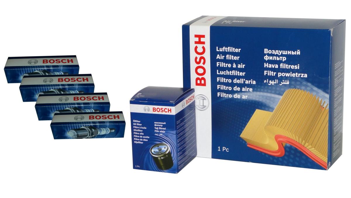 4 BOSCH Zündkerzen+Filtersatz für PEUGEOT 206 CC SW